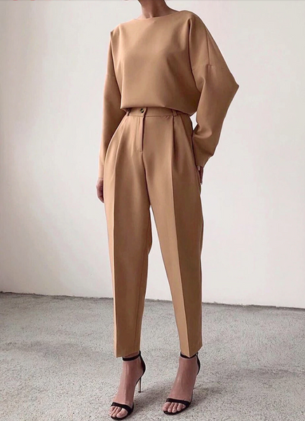 Creased Crop Dress Pants