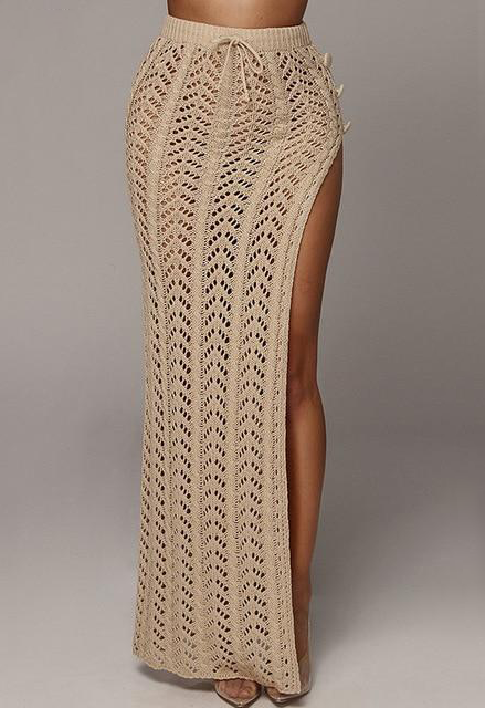 Long Side Slit Knit Skirt