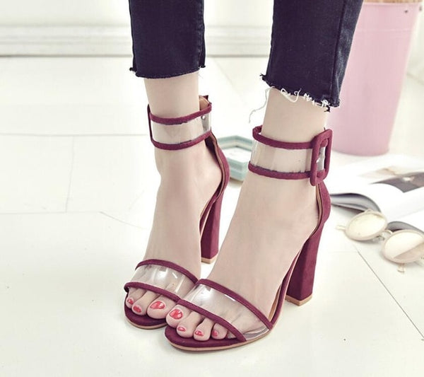 Transparent Strap Block Heels