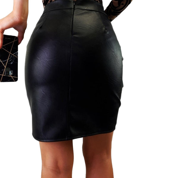 High Waist Zip Leather Skirt