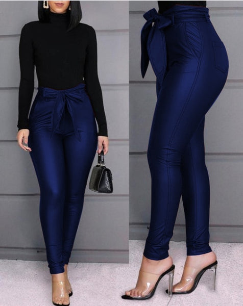 Leather Tie Office Pants