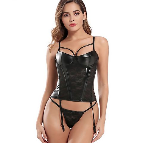 Leather Lace Corset Lingerie