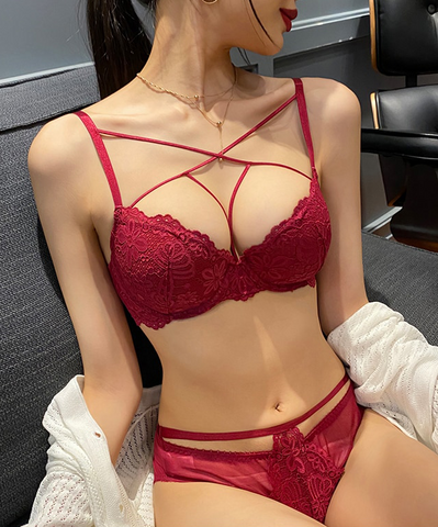 2 Piece Embroidery Lingerie