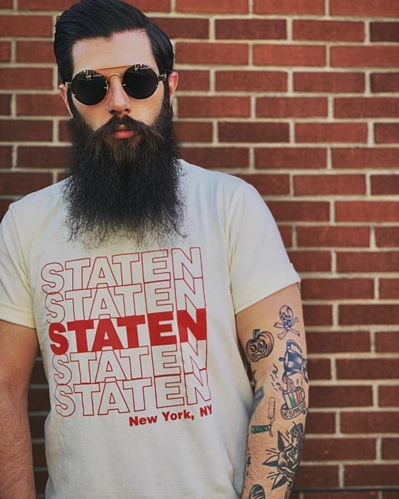 Staten Repeat T Shirt - Cream/Red - NAF