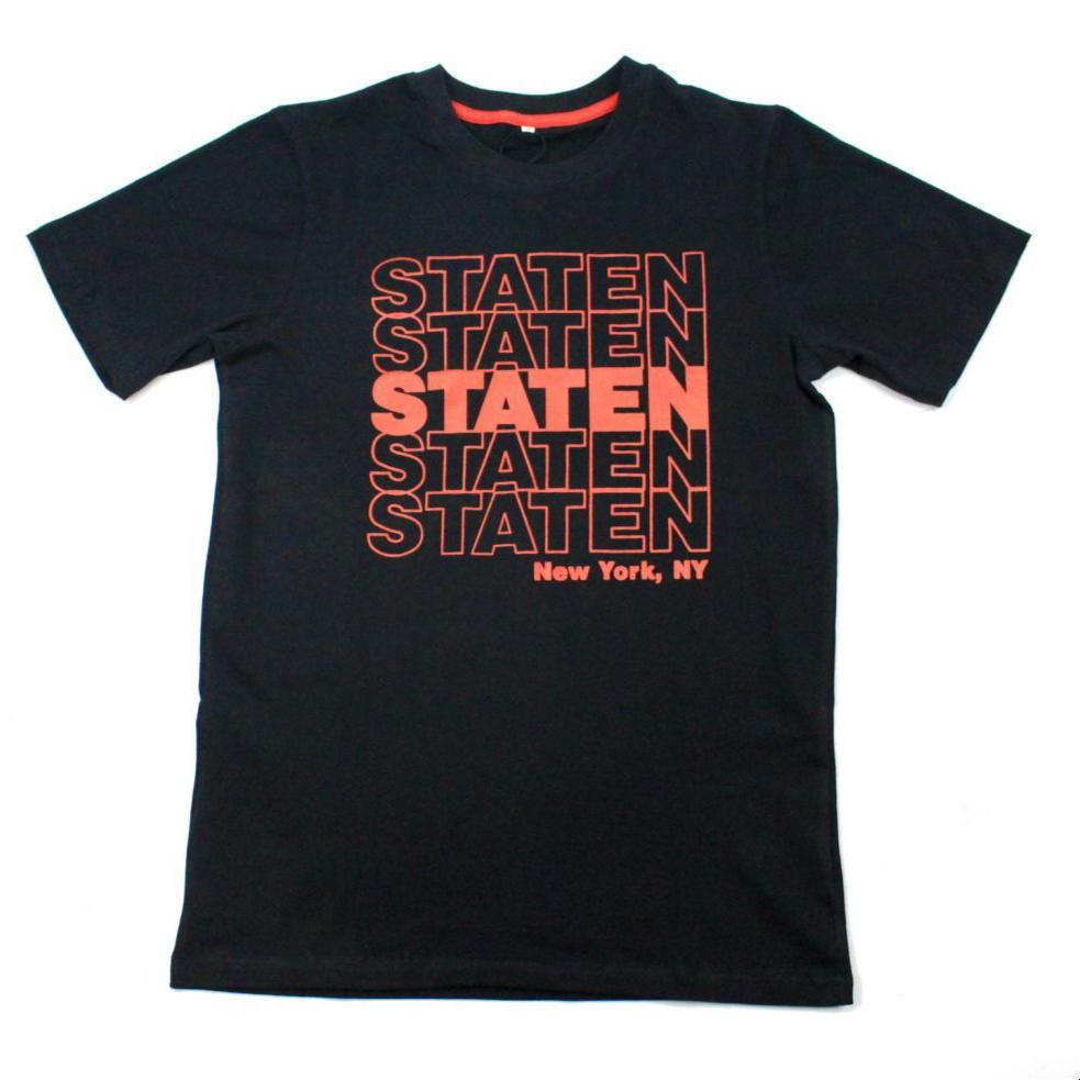 Staten Repeat T Shirt - Black/Red - NAF