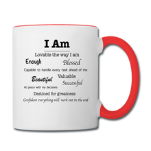 Load image into Gallery viewer, I Am Affirmations Coffee Mug - white/red