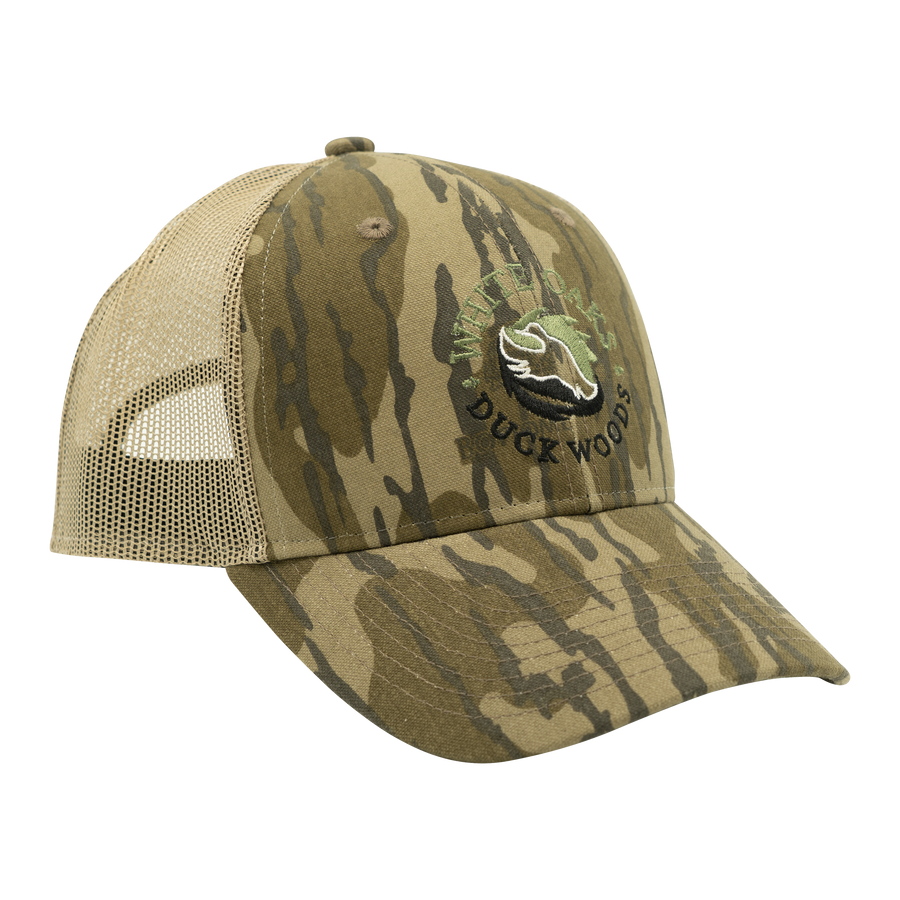 Six Panel Mesh Back Cap Mossy Oak Bottomland