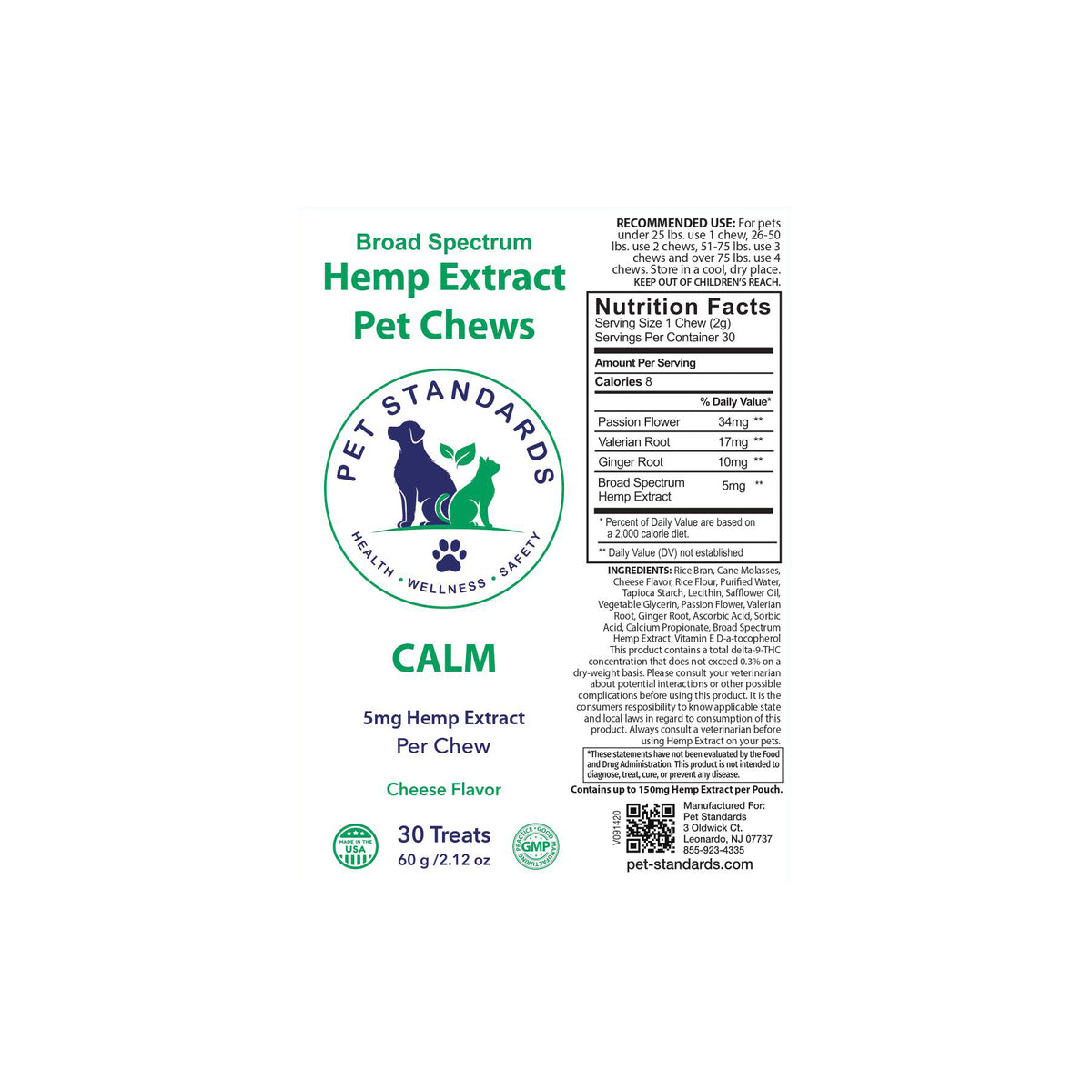 label for calm hemp oil chews