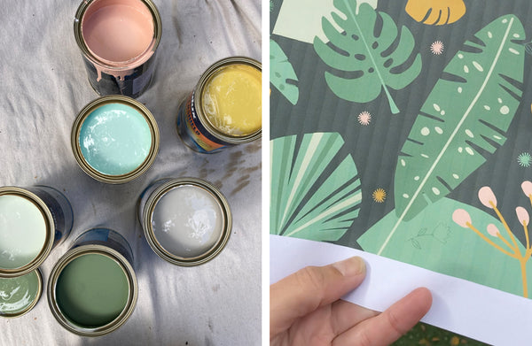 selection of paint pots, digital drawing of garden inspired mural