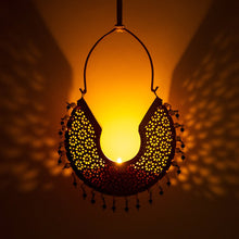 Load image into Gallery viewer, Jhumka Gold Hanging T Light Holder Set/2