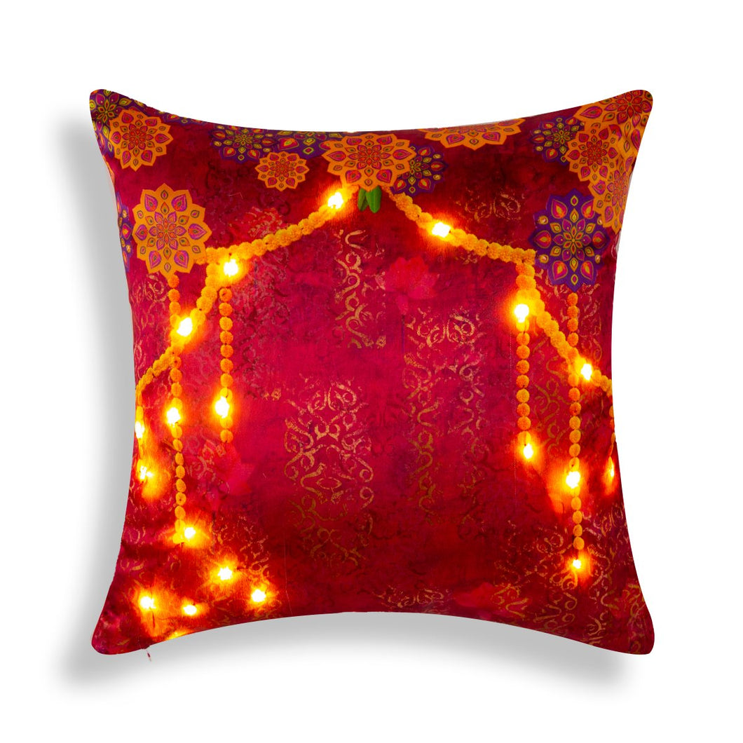 Anarkali LED Pink Cushion Cover