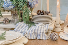 Load image into Gallery viewer, Live Oak Nest Centerpiece using Striped Blue  Linen Ruffle Tea Towel www.liveoaknest.com