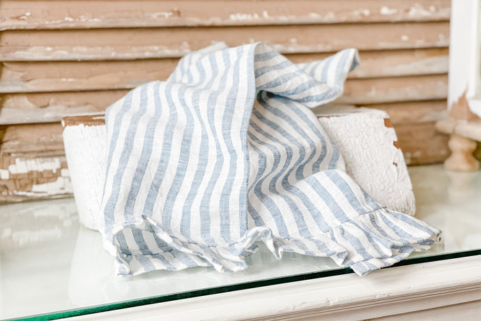 Blue Stripe Linen Ruffle Tea Towel Modern Farmhouse from Live Oak Nest www.liveoaknest.com