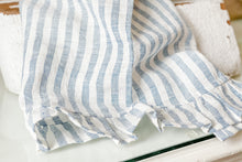Load image into Gallery viewer, Blue Stripe Linen Ruffle Tea Towel Modern Farmhouse from Live Oak Nest www.liveoaknest.com