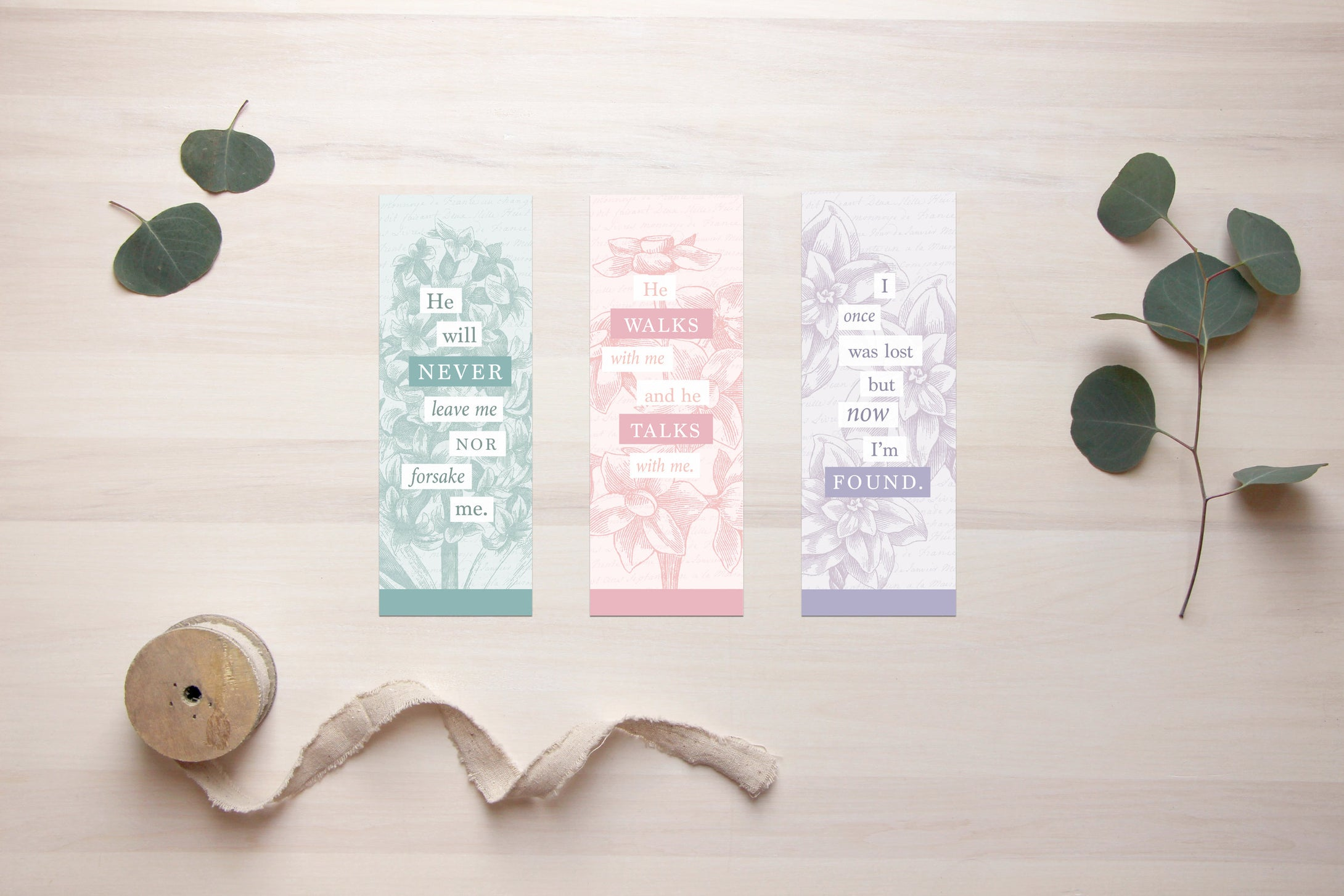 Feminine Christian Bookmarks Digital Download