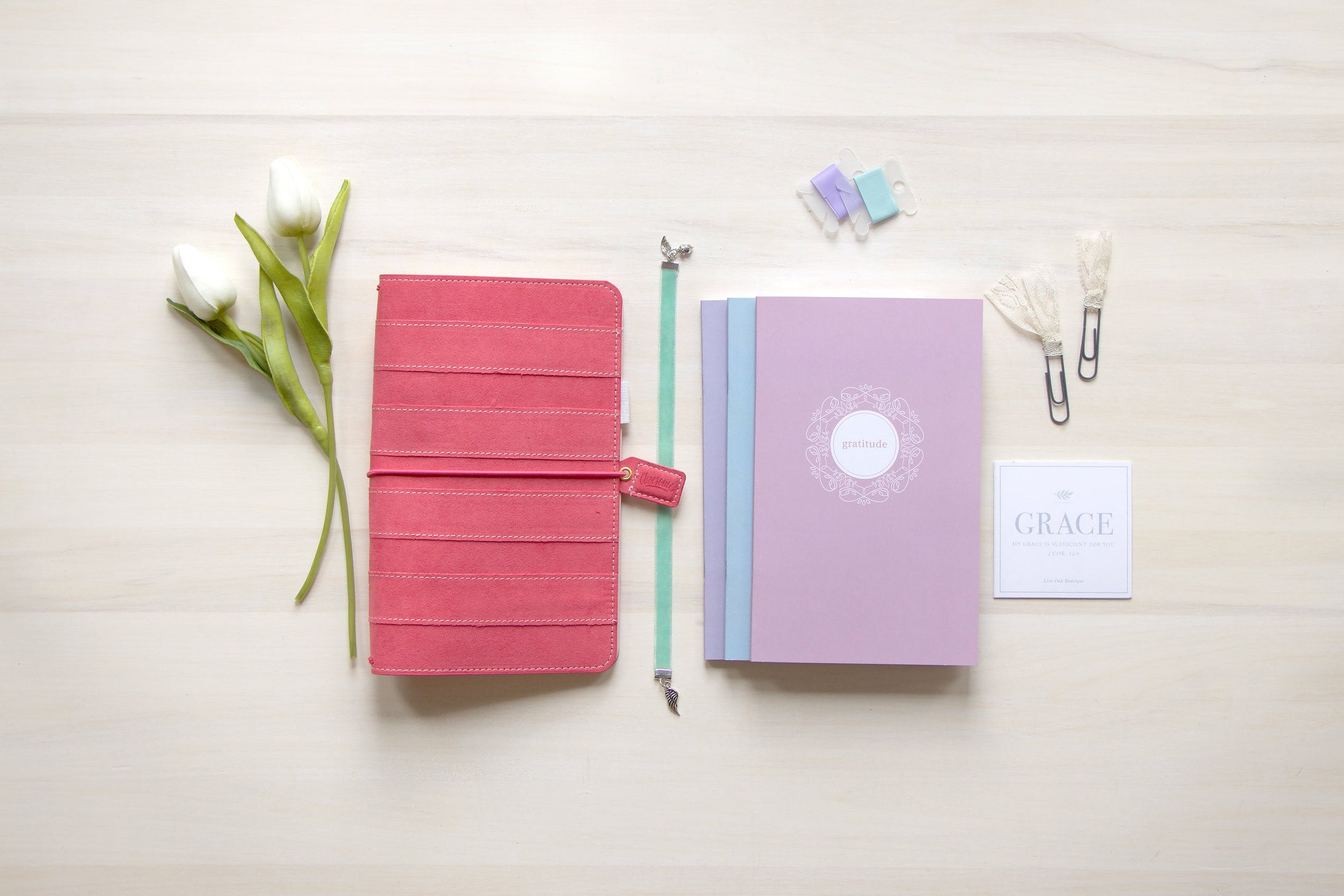 War Binder / Faith Journal Starter Kit: Striped Pink Suede