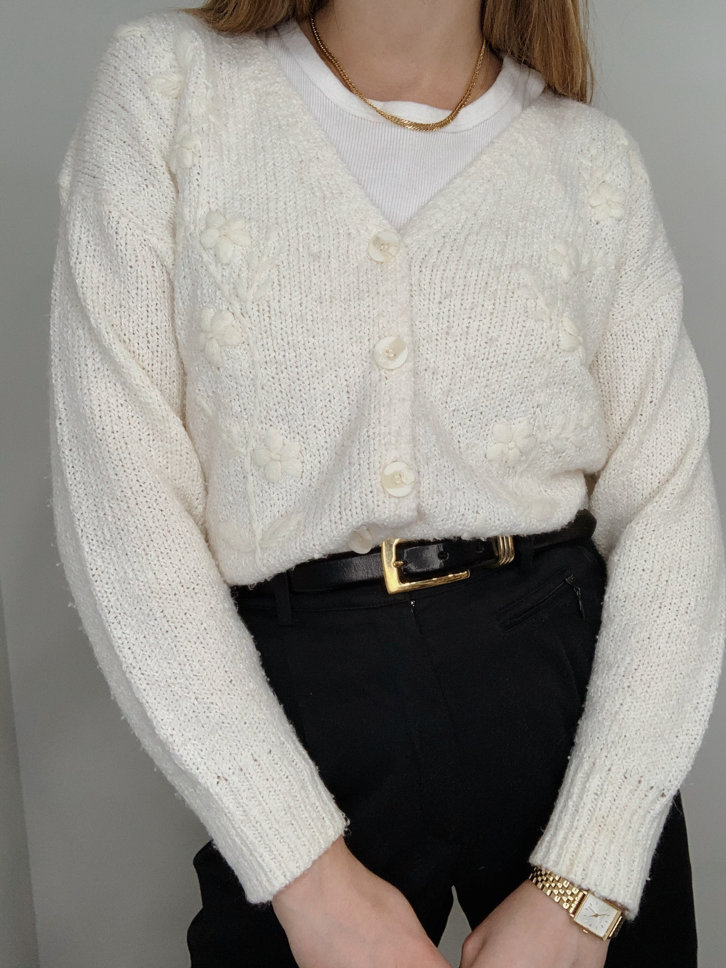 vintage, cream cardigan x crystal ashtray