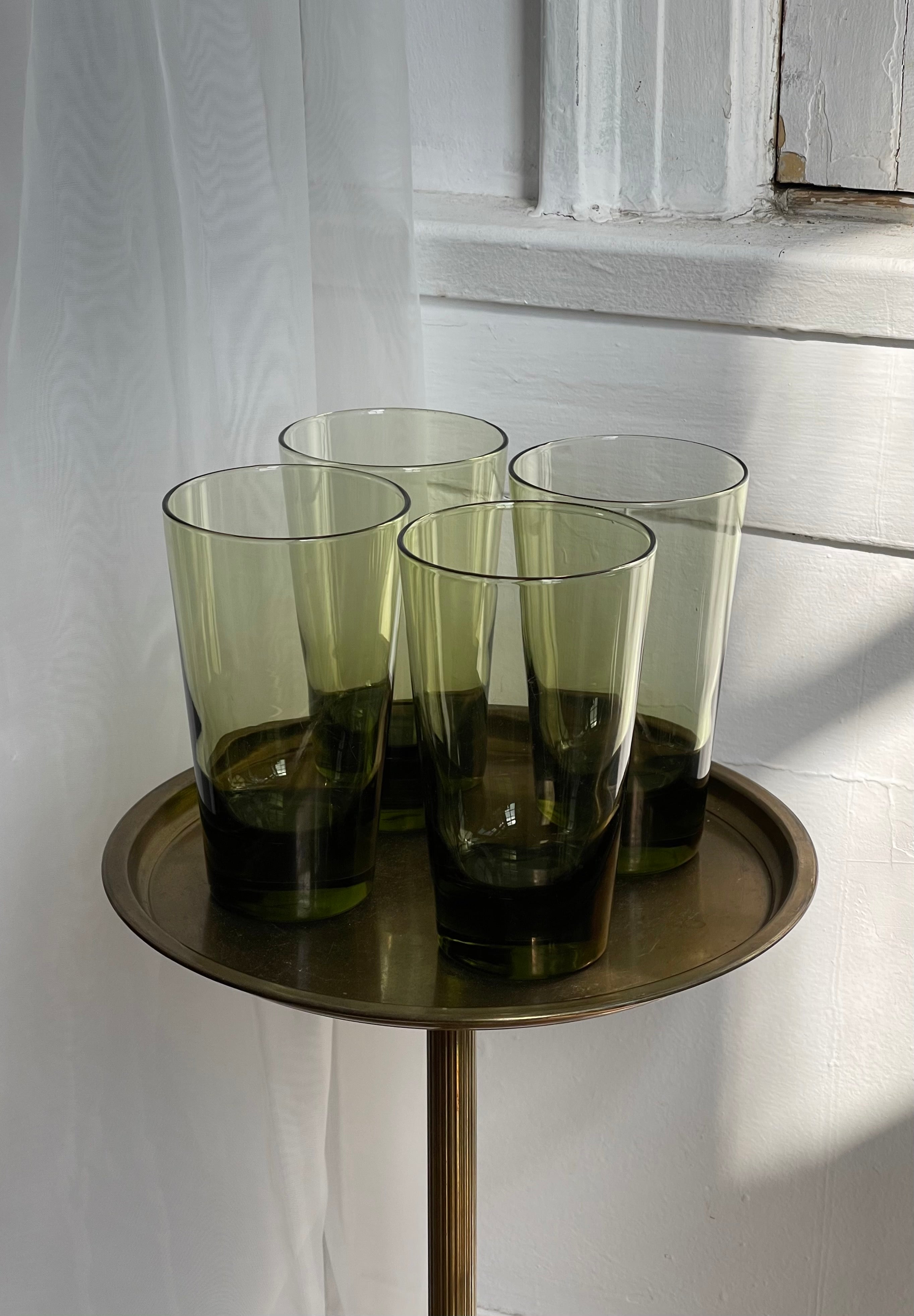 vintage, set of tall olive glasses