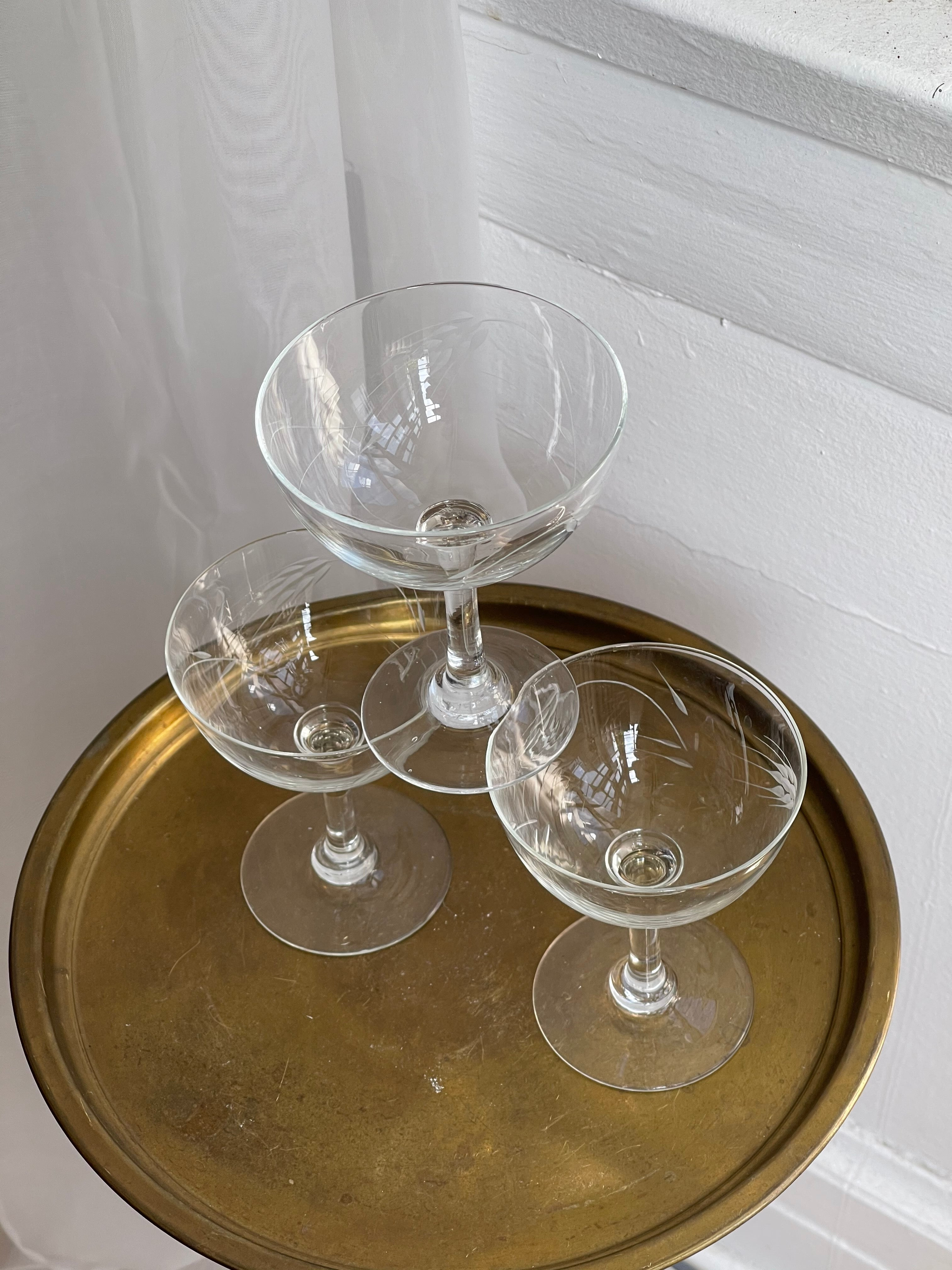 vintage, set of etched-glass coupes