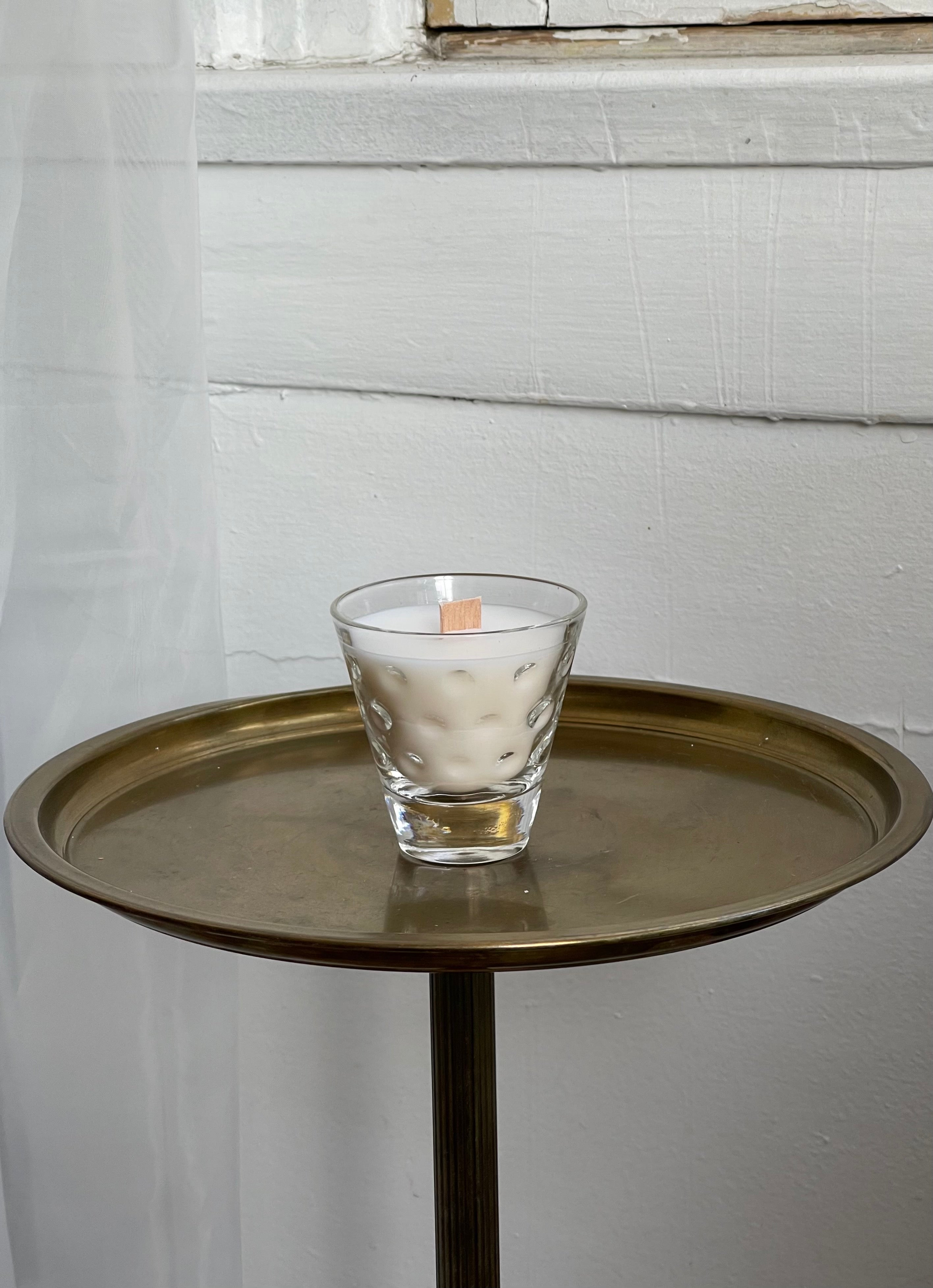 hand-crafted candle, w/ vintage petite glass