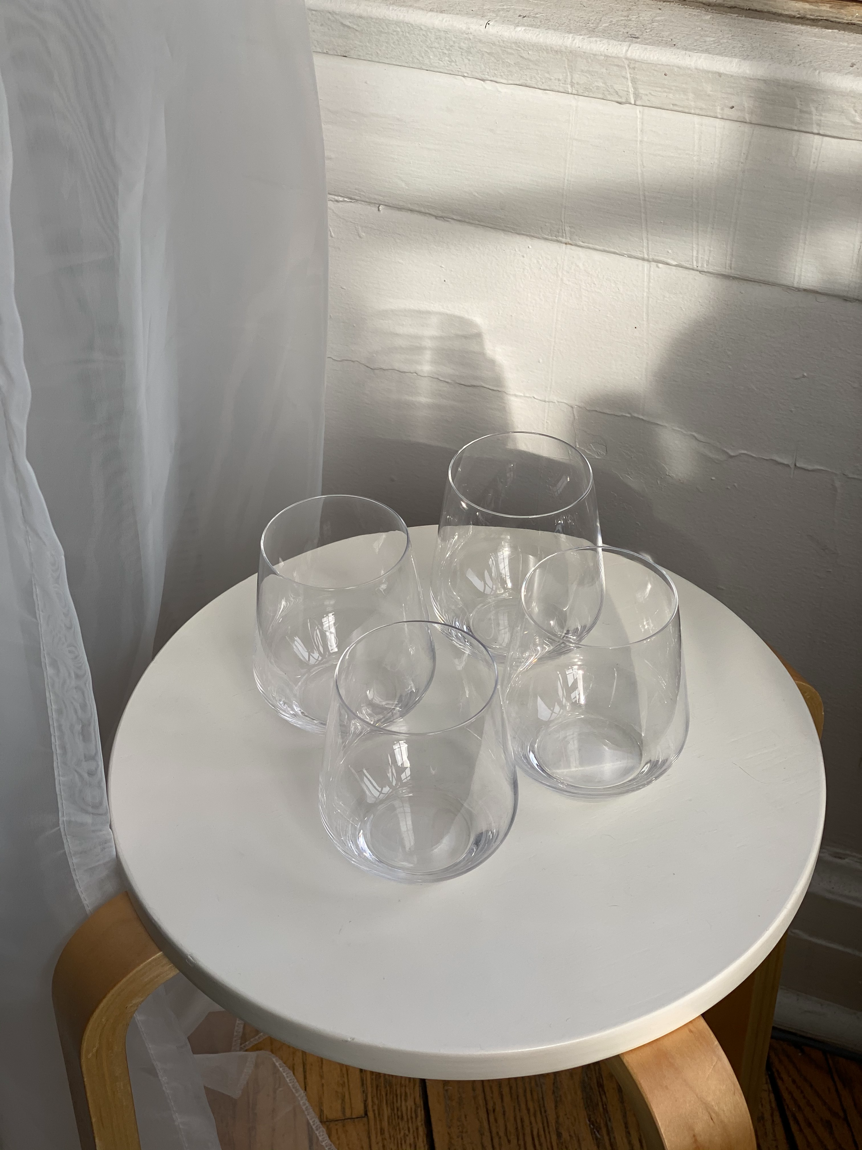 mod, stemless wine / low-ball glasses