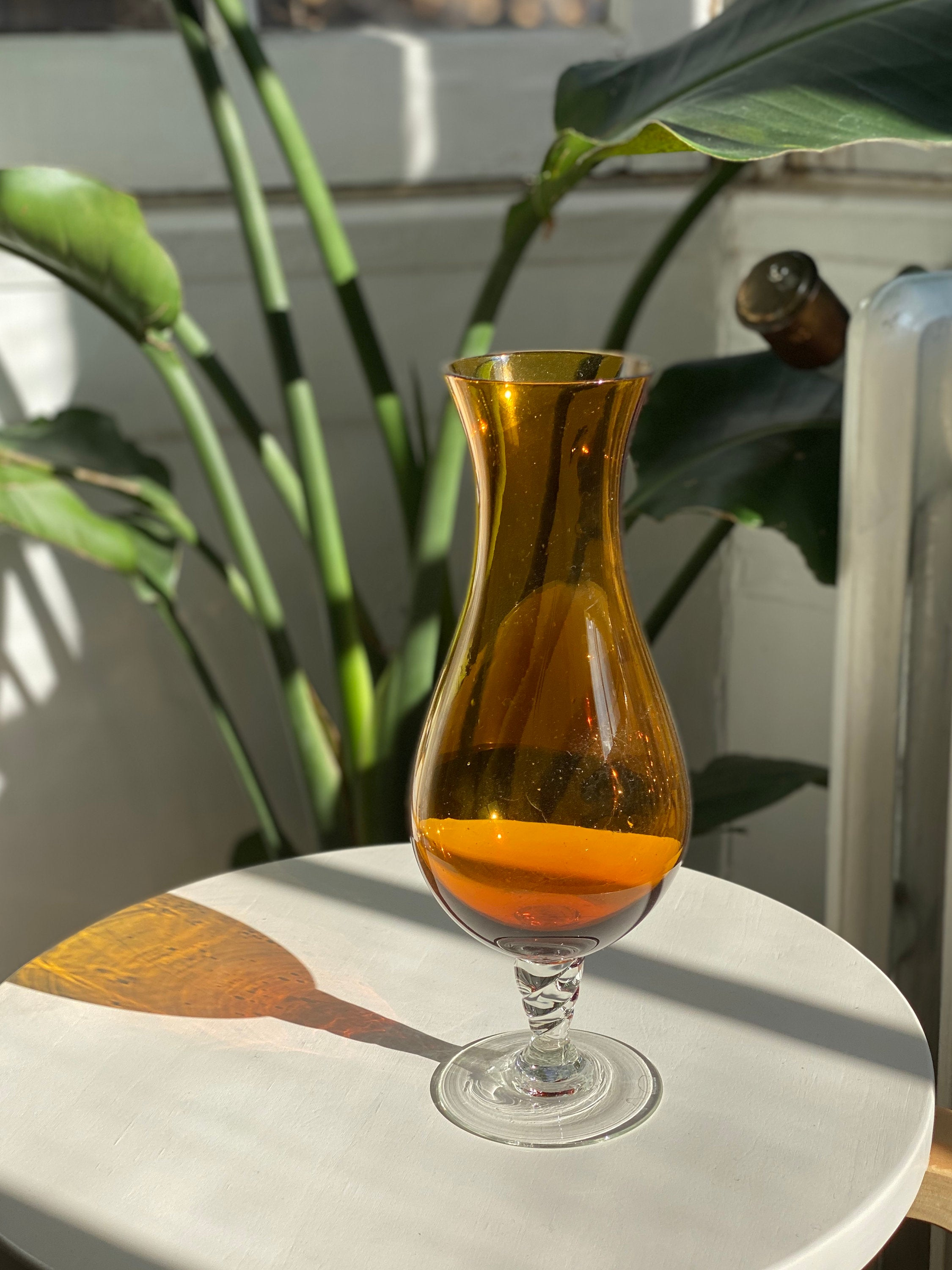 mod, shaped orange glass vase