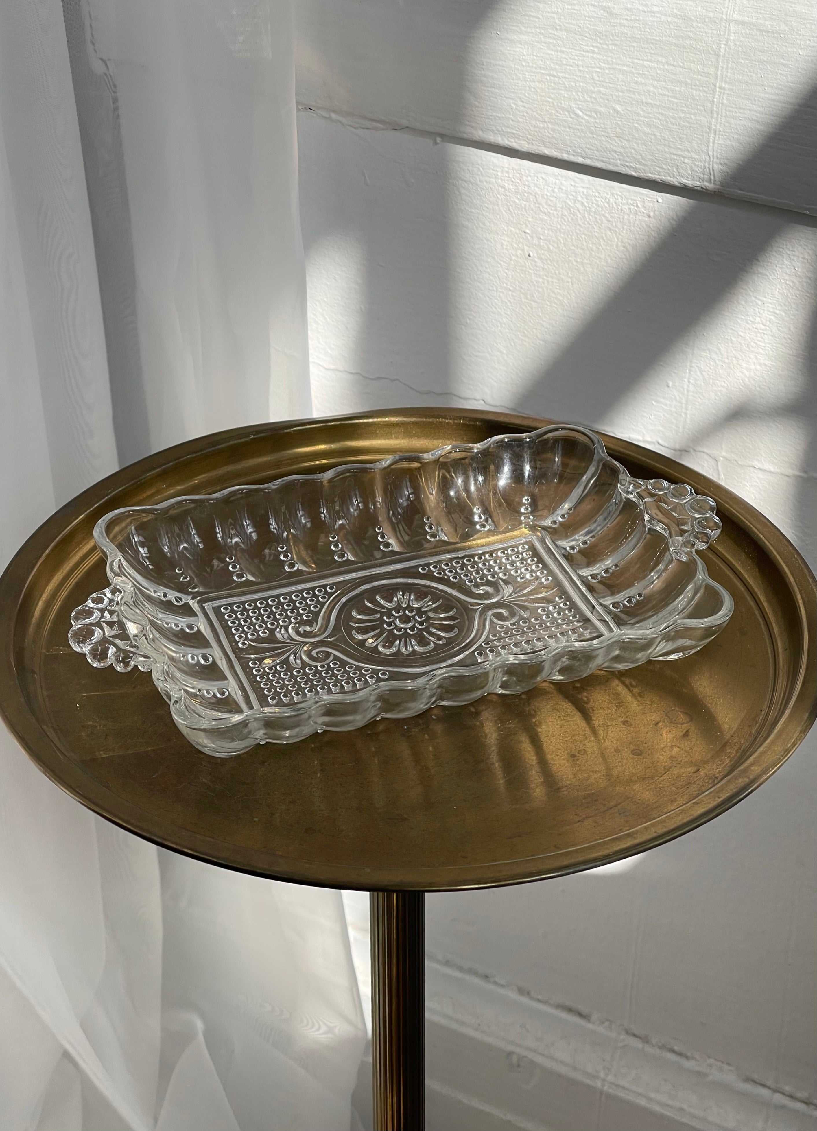 vintage, scalloped glass dish