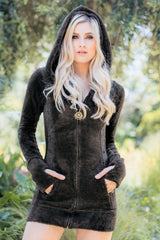 Jewel Faux Fur Hoodie Dress