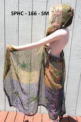 Upcycled Indian Scarf Hooded Cape Sarong - Multiple Colors inside