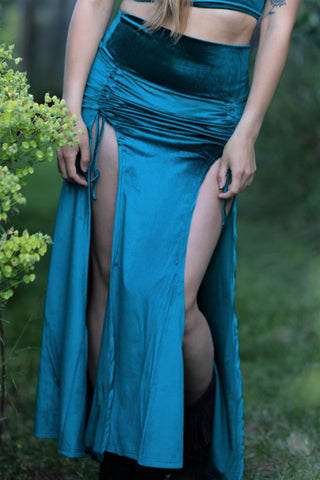 Priestess Skirt - Teal Crushed Velvet