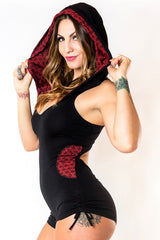 River Hooded Romper - Black with Red Flower of Life Print
