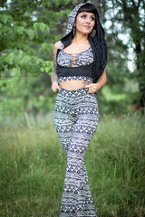 Sutra Underbust Hooded Top Set - Black and Cream Tribal