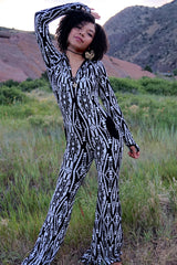 Aiwa Hooded Jumpsuit Onesie - Gold Snakeskin