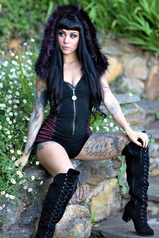 Racer Hooded Romper - Black with Maroon Flower of Life and Black Fur