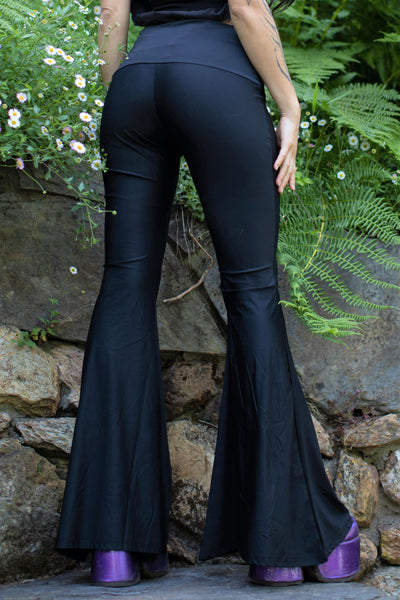 High Waist Bell Bottom Flare Pants - Black Sheen