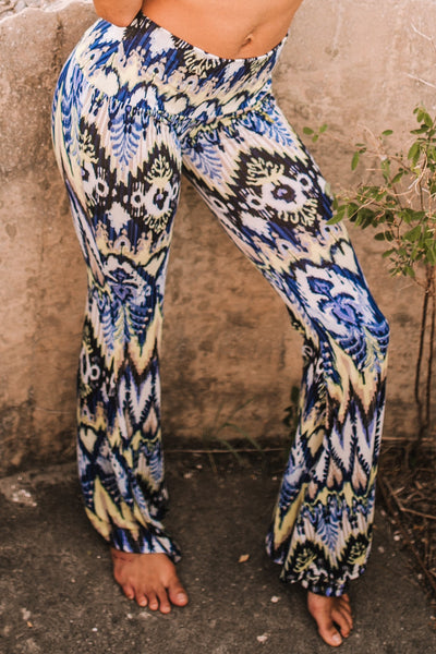 High Waist Bell Bottom Flare Pants - Blue and Cream