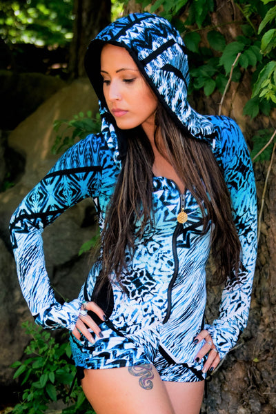 Gemini Hooded Romper - Blue Ocean Current