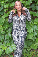 Aiwa Hooded Jumpsuit Onesie - Black and White Tribal