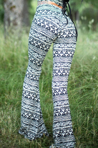 High Waist Bell Bottom Flare Pants - Black, White and Tan