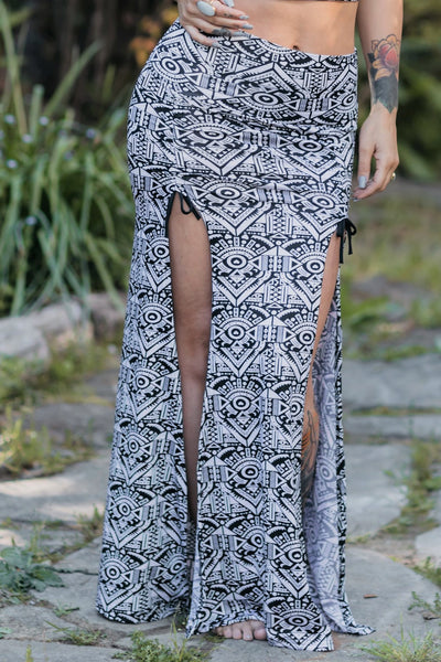 Priestess Skirt - Black and White Heart Print