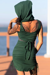 Scrunch Dress with Detachable Hooded Underbust Bustier
