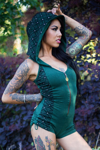 Racer Hooded Romper - Forest Green with Flower of Life Print Lace