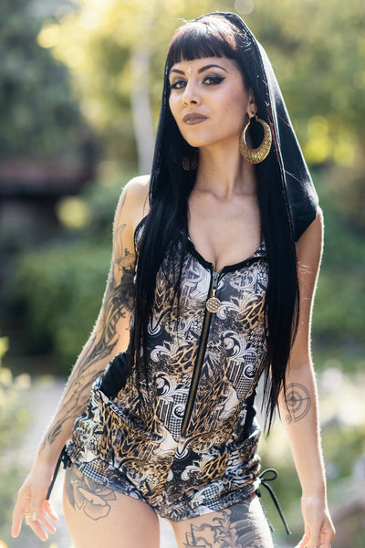 Storm Hooded Romper - Gold Sublimated Leopard