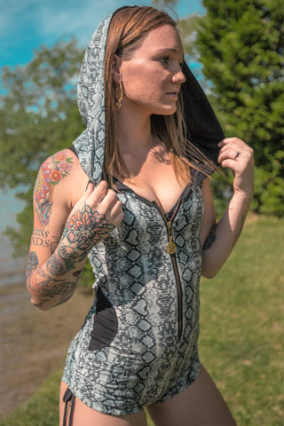 Storm Hooded Romper - Gray Snakeskin