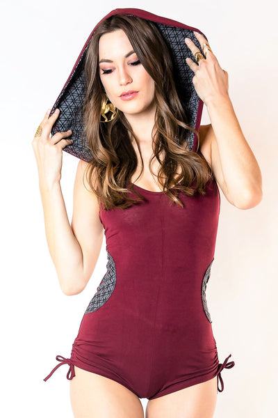 River Hooded Romper - Maroon with Gray Flower of Life Print