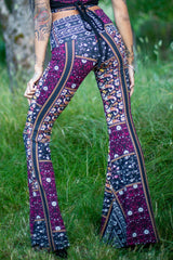 High Waist Bell Bottom Flare Pants - Maroon and Black