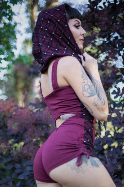 Racer Hooded Romper - Maroon Red with Flower of Life Print Lace