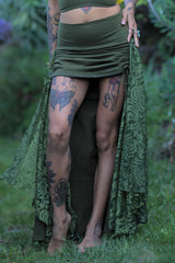Royal Skirt - Olive with Forest Green Lace
