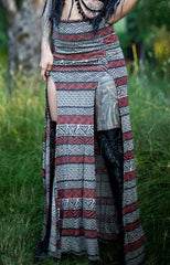 Priestess Skirt - Black and Rust Tribal Print