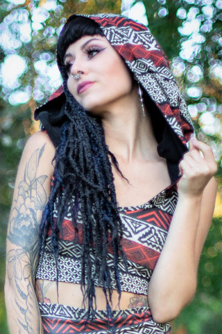 Cross Strap Hooded Top - Black and Rust Tribal Print